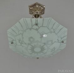 LOYS LUCHA : 1930 French art deco chandelier in enamelled glass and nickel onsolid  brass mount. ( paravas - ebay)