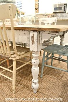 heavily distressed legs & a reclaimed wood top