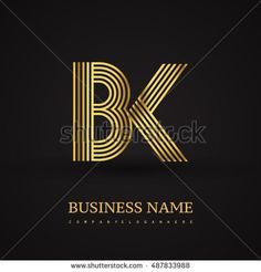 Elegant Initial logo BK letter gold colored. Vector design template elements for company identity.