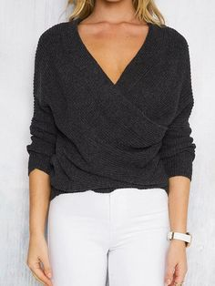 19e2e7de7 Knitting V-Neck Sweater Tops Looking for Latest Trends Street Style Sweaters   50%