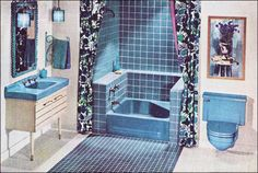 60s Blue bathroom.  I actually like the idea of the sink/vanity with the whole top in porcelain.  But not that color...