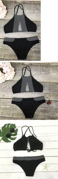 Black Striped Hollow Halter Bikini