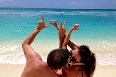 "gorgeous beach ""love"" shot - great for wedding announcement / engagement photos."