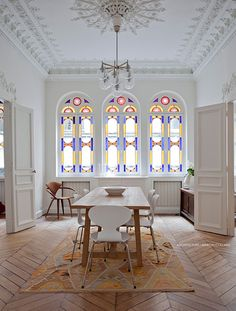 Marion Collard Design with stained glass windows and elegant trim
