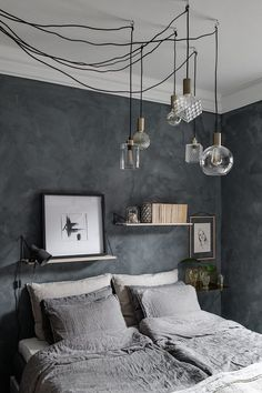 Do You Like An Ideas For Scandinavian Bedroom In Your Home? If you want to have An Amazing Scandinavian Bedroom Design Ideas in your home. Master Bedroom Design, Home Decor Bedroom, Modern Bedroom, Bedroom Ideas, Gray Bedroom Walls, Bedroom Layouts, Bedroom Designs, Dark Cozy Bedroom, Bedroom Furniture