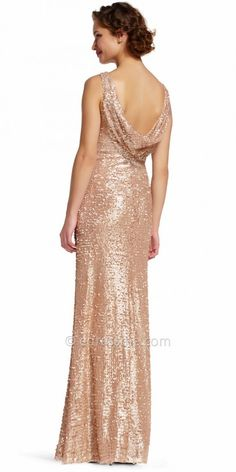 Adrianna Papell Sequin Ruched Cowl Back Evening Dress at eDressMe #affiliatelink