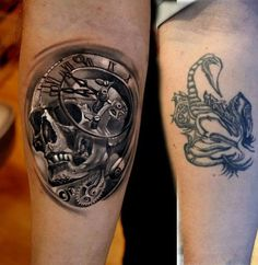 3D Skull with watch cover up tattoo - Before, it was a scorpion-like creature. Now it's a 3D surreal clock and skull design which totally hides the previous tattoo. Even if you scrutinize the tattoo now, you wouldn't really be finding that creature which is probably a good thing seeing your new one rocks.