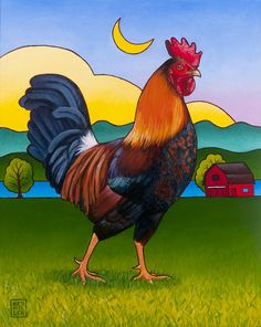 roosters and chickens painting books   The Rooster Painting by Stacey Neumiller - Rufus The Rooster Fine Art ...