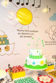 """Numa folha qualquer eu desenho um sol amarelo "" Birthday Cake, Party, Diy, Ideas Aniversario, Toddler Boy Birthday, Music Letters, Parties Kids, Birthday Cakes, Bricolage"