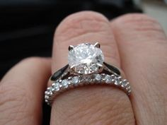 Cathedral solitare + flush eternity band