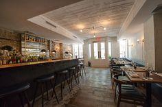 bar, wall behind bar, ceiling