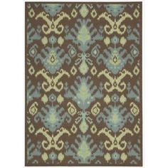 Nourison Vista Ikat Brown Rug x - Runner), Size x (Polyester, Abstract) Ikat Pattern, Machine Made Rugs, Brown Rug, Joss And Main, Online Home Decor Stores, Throw Rugs, Blue Area Rugs, Indoor Outdoor, Outdoor Rugs