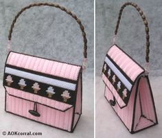 This plastic canvas purse pattern comes with step by step photos as well as interchangeable font panels. I love the little ice-cream design on this bag. It would make the cutest Cinema Movie night … Plastic Canvas Stitches, Plastic Canvas Crafts, Plastic Canvas Patterns, Purse Patterns Free, Free Pattern, Ice Cream Design, Canvas Purse, Diy Purse, Crochet Purses