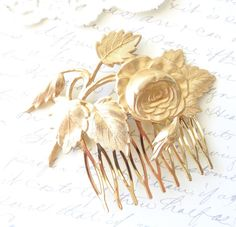 This gorgeous cabbage Rose blossom hair comb is part of my Woodland Collection Behind The Shady Tree  Stunning gold plated cabbage rose blossom