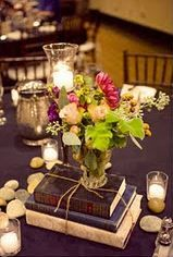 Candles With Vintage Books Centerpiece
