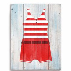 Found it at Wayfair - Vintage Red Striped Boy's Beach Outfit Illustration Graphic Art Plaque