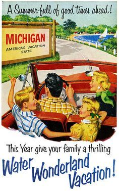 Vintage magazine ad promoting holiday travel to Michigan Michigan Travel, State Of Michigan, Detroit Michigan, Northern Michigan, Lake Michigan, Detroit Downtown, Michigan Tourism, Muskegon Michigan, Vintage Advertisements