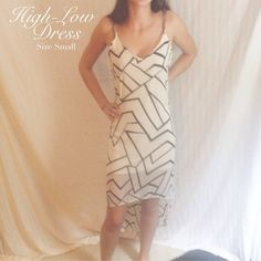 Hi-Low Chiffon Geometric Print Dress HP Glam Girl Party 8/31/15 Beautiful flowing style  Dramatic short cut in front and long in back  Such a statement dress!!  100% polyester  Don't be shy! Make me an offer or bundle for a discount!! Love Culture Dresses High Low