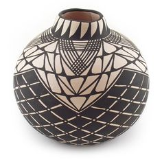Acoma Pottery Black and White Vase