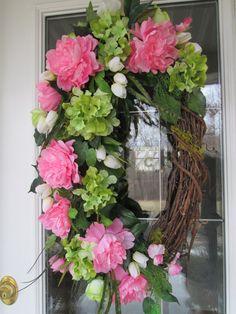 Spring Wreath Summer Wreath Front Door Wreath by KathysWreathShop, $109.99