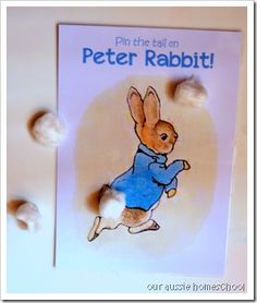 Peter Rabbit - Pin the Tail on Peter Rabbit (and more ideas) Harry Birthday, Third Birthday, 4th Birthday Parties, Girl Parties, Birthday Ideas, Peter Rabbit Birthday, Peter Rabbit Party, Beatrix Potter Birthday Party, Peter Rabbit Nursery