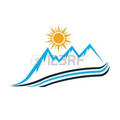 Sunny Mountain way logo. Vector graphic design