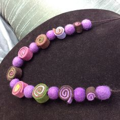 "24"" Wool Felt Ball Necklace, Multi Colored, on Natural Hemp Cord, Purple, Mauve, Signature Jewelry"