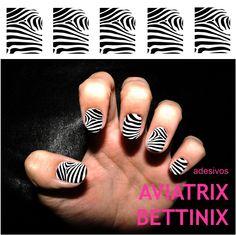 ZEBRINHA. Película adesiva com estampa de zebrinha na cor preta aplicada sobre esmalte branco. Preço com frete para todo o Brasil. R$10,00