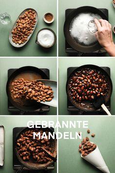 Wer hat Lust auf gebrannte Mandeln? Wir zeigen dir, wie du diese ganz einfach Zuhause zubereitest. Thanksgiving, Cookies, Chocolate, Breakfast, Desserts, Food, Dessert Ideas, Ad Home, Simple
