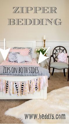 Such a GENIUS IDEA! #beddysdreamroom Adorable girls room.  Zipper bedding keeps it looking neat.