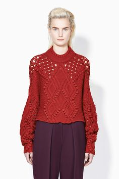 Cable and Popcorn Cropped Sweater, 31Phillip Lim, crimson or white, $695.