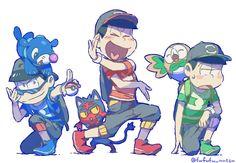 Osomatsu-san x Pokémon Sun and Moonn Anime Crossover, Pokemon Crossover, Japanese Show, Comedy Anime, Ichimatsu, Cartoon Games, Pokemon Sun, Haikyuu Anime, My Favorite Image