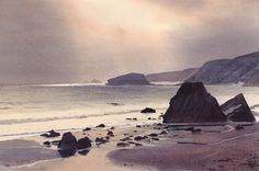 Porth Ysgo, an original watercolour painting by Rob Piercy