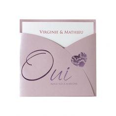 faire part de mariage 2012 buromac rose  pochette coeur 102-011