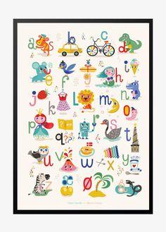 Super sød ABC BØRNEPLAKAT. Børne alfabet plakaten er tegnet af Helen Dardik. Fri fragt på alle vores plakater og 10% rabat med nyhedsbrev. SE DEM ALLE HER!