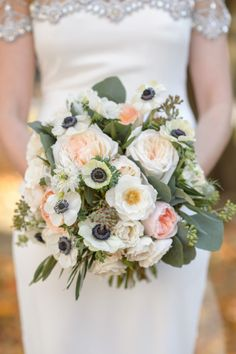 Anemone & Rose Bouquet by SpruceFloral.com - Featured on SMP here:  http://www.StyleMePretty.com/2014/05/19/bohemian-wedding-at-the-crane-estate/ #SMP - Photography: NedJackson.com