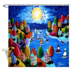 Colorful Night Sailboats Moon Shower Curtain