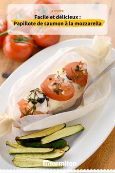 Papillote de saumon à la mozzarella, une recette toute simple appréciée par beaucoup de gens sur Marmiton et bientôt par vous #papillote #saumon #mozzarella #marmiton #recettemarmiton #cuisine #recette