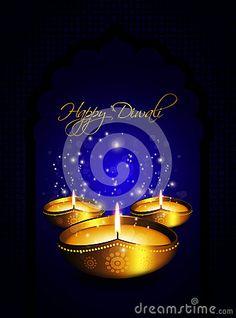 Oil lamp with diwali diya greetings dark blue background
