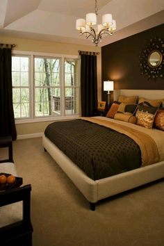 He Likes Warm Accent Wall With Light Wall. Very Pretty, Yet Simple Warm  Color Combo. Love The Dark Wall Behind The Bed.