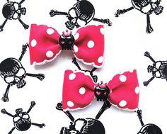 SALE  Insane Royal Cutie Skulls Dots Hair Bow  by PunkUpBettie