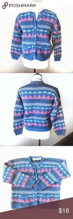 VTG💖90s Retro Geometric Shell Button Cardigan! So cute! Fun little geometric 90's cardigan sweater. Features funky pastel knit design, two front pockets & shiny, iridescent abalone shell buttons. Sturdy & well-made. Ever so slightly faded, but otherwise in great condition! Offers welcome! 💖🌟💖   Tags: retro Anthropologie UNIF rainbow Eddie J Crew Banana Chico's Vintage Sweaters Cardigans