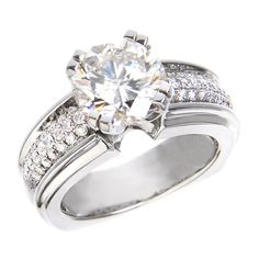 Justice Wedding Collection Three-Row Diamond Engagement Ring #justicejewelers