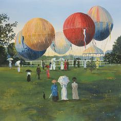 Sally Caldwell Fisher - Balloons in the Park - OPEN EDITION CANVAS from the Greenwich Workshop Fine Art Gallery featuring fine art prints, canvases, books, porcelains and gift ideas. Canvas Art Prints, Fine Art Prints, Paintings Of Christ, Grandma Moses, Workshop, Lds Art, Christian Art, Large Art, Fine Art Gallery