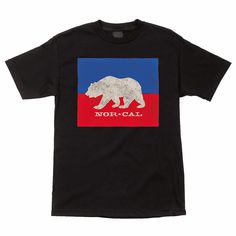 Nor Cal Split Bear California Flag Black T Shirt | Bear Flag Museum