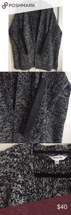 Marled Faux Leather Cardigan SIMPLY BE PLUS SIZE / Marled Chunky Open Cardigan w/ Faux Leather Trim Super cozy!!!  PLUS SIZE US 24/26 - Black & white marled chunky knit - Long sleeves w/ black faux leather trim panel down the sleeves - Side pockets - Oversized fit with lots of stretch - 100% Acrylic  ***Please check online size chart for specific measurements*** ✅ NWOT- brand new, only worn once ✅ NO trades / NO low-balling ✅ List price is fair and highly discounted✌️ Simply Be Sweaters…