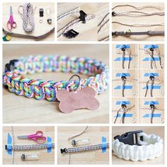 Get inspired to use up your stash with these awesomely crafty paracord projects! Who knew you could make so many fun things with paracord? Diy Dog Collar, Collar And Leash, Cat Collars, Cute Dog Collars, Handmade Dog Collars, Dog Crafts, Animal Crafts, Diy Pour Chien, Diy Collier