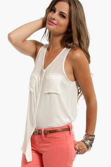 Pocket Button Down Tank Top in Off White