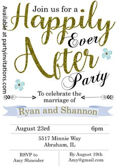 Happily Ever after eloping party invitations