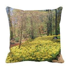 """""""Tulips along a Woodlands Garden Path"""" Pillow, with digitally rendered """"watercolor"""" image from photograph shot during a spring visit to Garvan Woodland Gardens in Hot Springs, Arkansas. (http://www.zazzle.com/tulips_along_a_woodlands_garden_path_pillow-189145786139001602?CMPN=addthis&lang=en&rf=238581717104918999) (https://www.facebook.com/hawcreek)"""